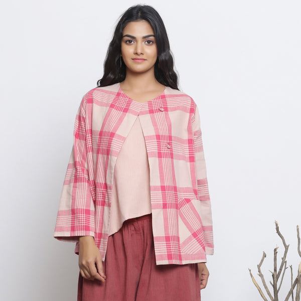 Front View of a Model wearing Pink Checkered Handspun Cotton Outerwear