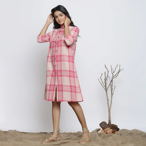 Right View of a Model wearing Fuschia And Peach Handspun Shirt Dress