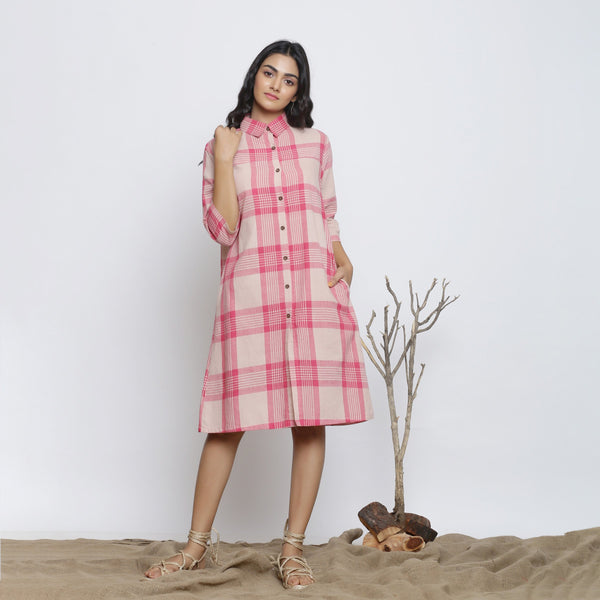 Front View of a Model wearing Fuschia And Peach Handspun Shirt Dress