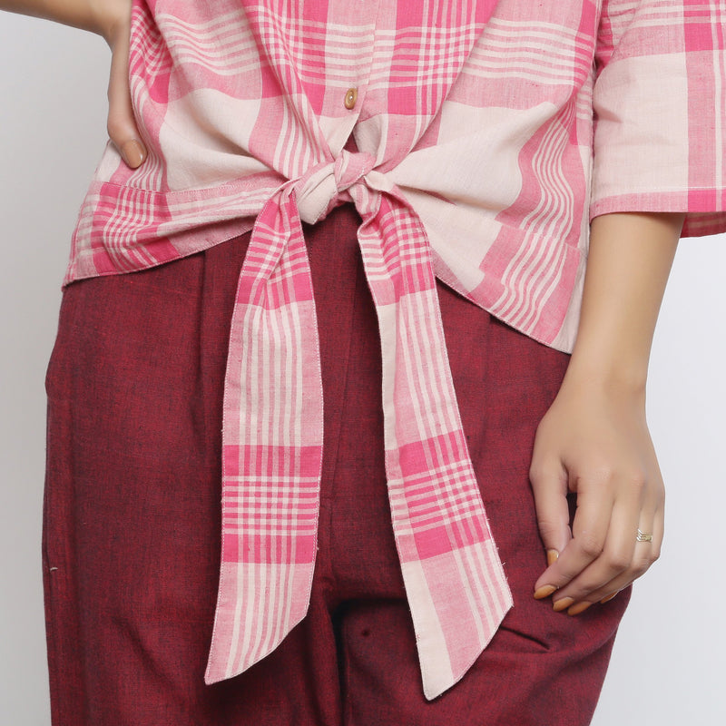 Front Detail of a Model wearing Fuchsia and Pink Tie Up Button-Down Top