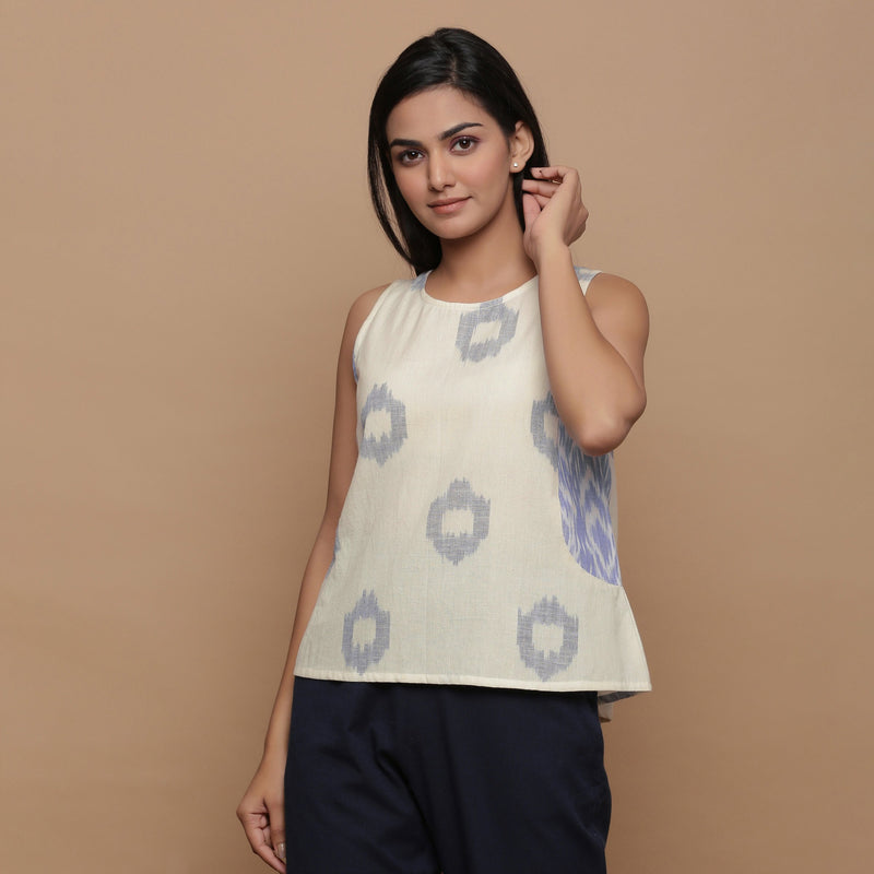 Front View of a Model wearing Geometric Off-White Cotton Paneled Top