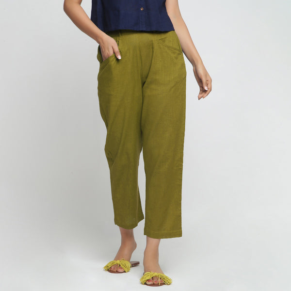 Front View of a Model wearing Green Ankle Length Mid-Rise Chinos