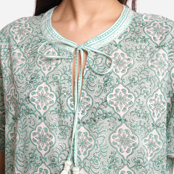 Front Detail of a Model wearing Sanganeri Block Print Floral Tunic Top