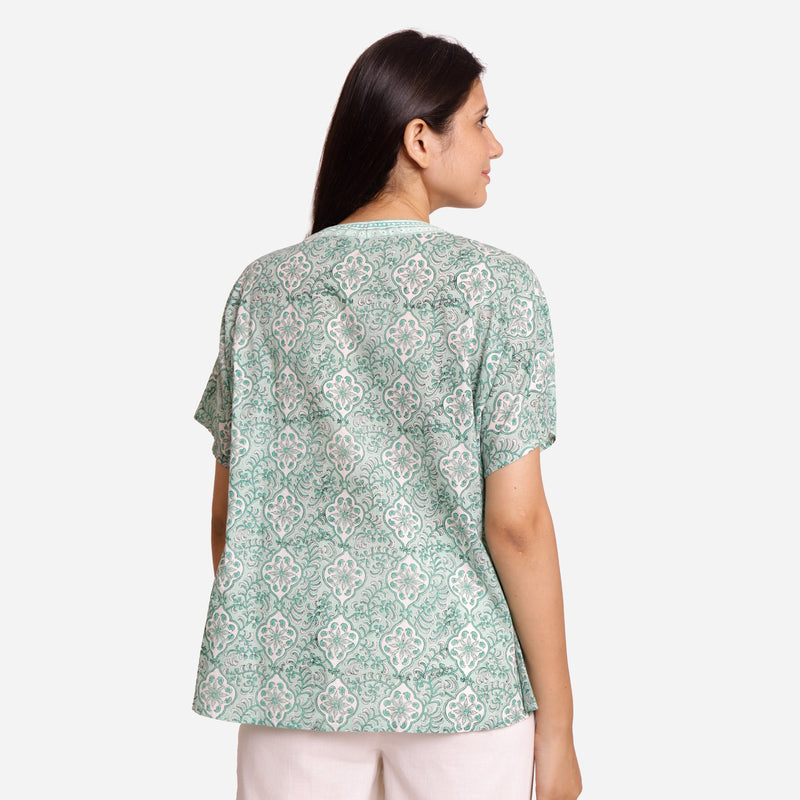 Back View of a Model wearing Sanganeri Block Print Floral Tunic Top