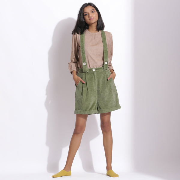 Front View of a Model wearing Green Cotton Corduroy Short Dungaree