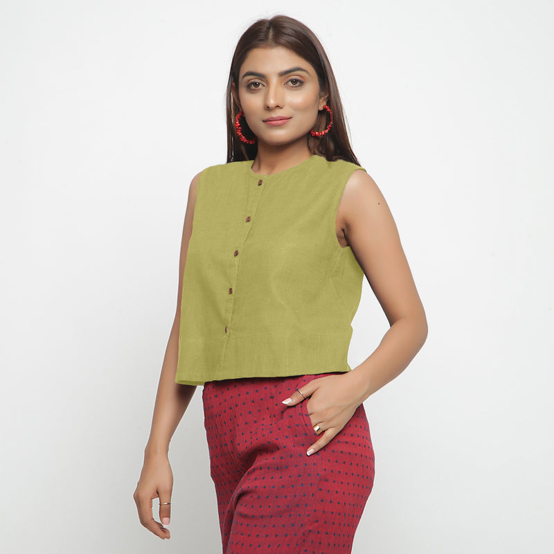 Left View of a Model wearing Green Cotton Flax Button-Down Shirt