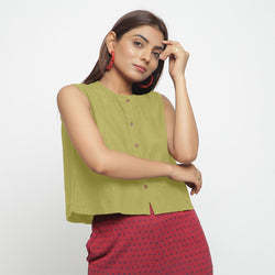 Front View of a Model wearing Green Cotton Flax Button-Down Shirt