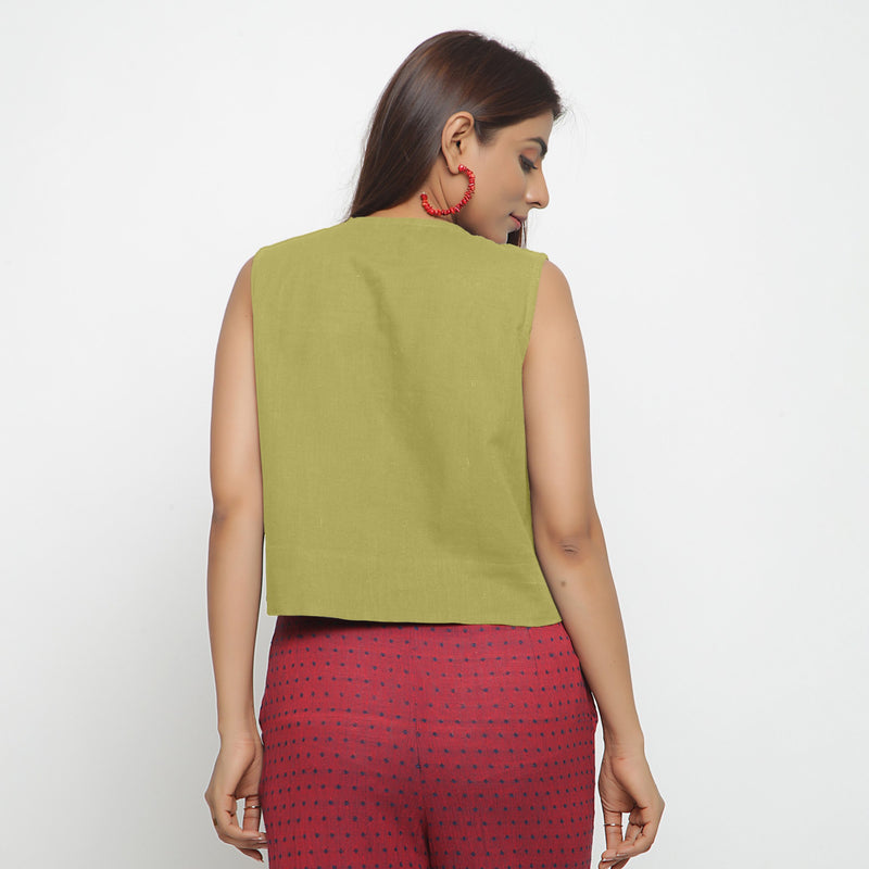 Back View of a Model wearing Green Cotton Flax Button-Down Shirt