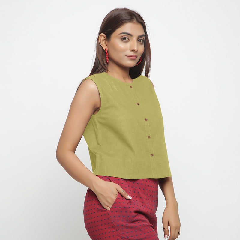 Right View of a Model wearing Green Cotton Flax Button-Down Shirt