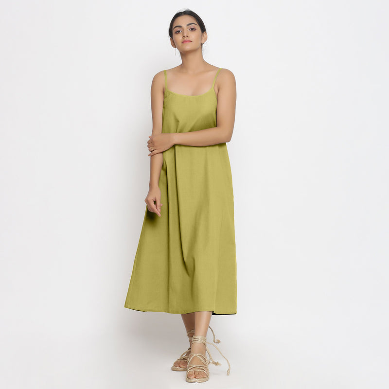 Front View of a Model wearing Green Cotton Flax Strap Sleeve A-Line Dres