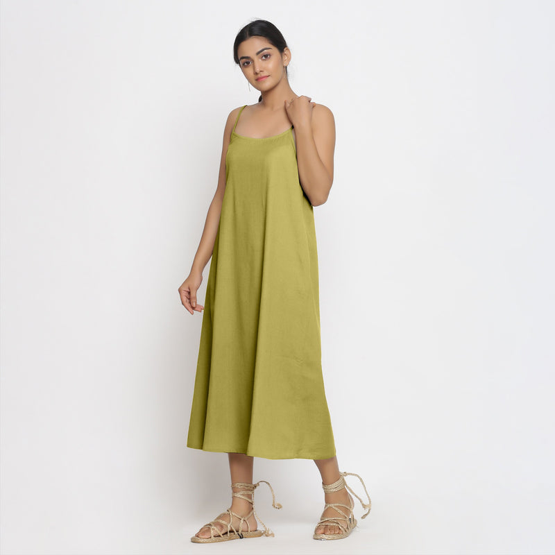 Left View of a Model wearing Green Cotton Flax Strap Sleeve A-Line Dres