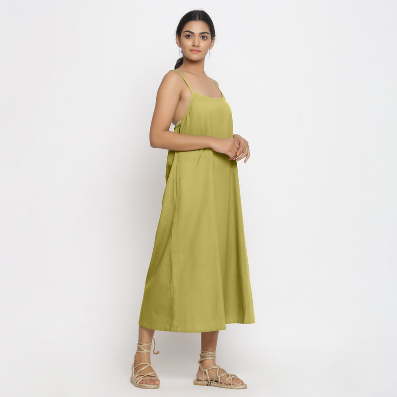 Right View of a Model wearing Green Cotton Flax Strap Sleeve A-Line Dres
