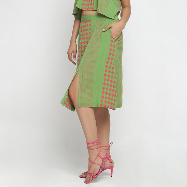 Left View of a Model wearing Green Crinkled Cotton Geometric A-Line Skirt