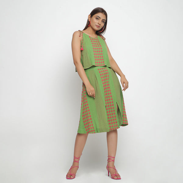 Front View of a Model wearing Green Crinkled Cotton Geometric A-Line Skirt