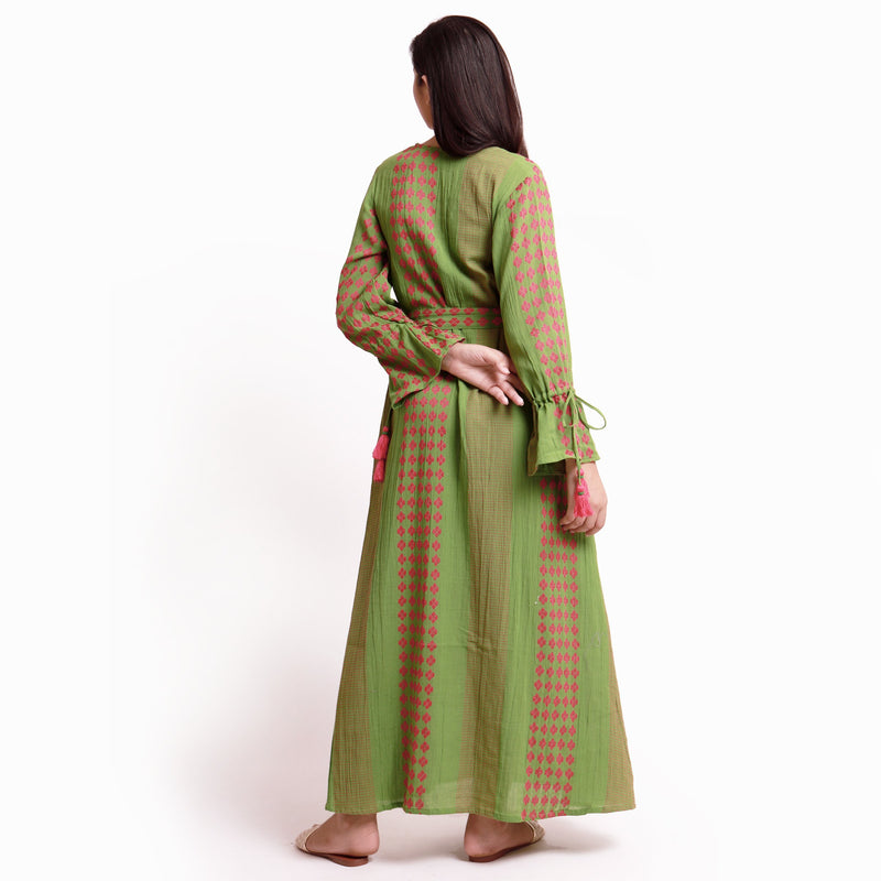 Back View of a Model wearing Green Crinkled Cotton Deep Neck Tent Dress