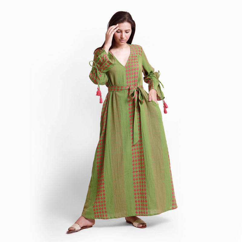 Front View of a Model wearing Green Crinkled Cotton Deep Neck Tent Dress
