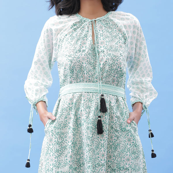 Front Detail of a Model wearing Green Hand Block Printed Peasant Dress