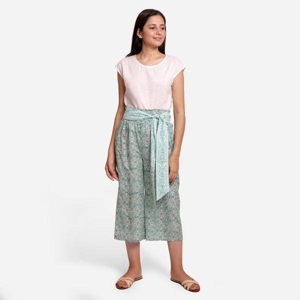 Front View of a Model wearing Sanganeri Block Print Mint Green Pant