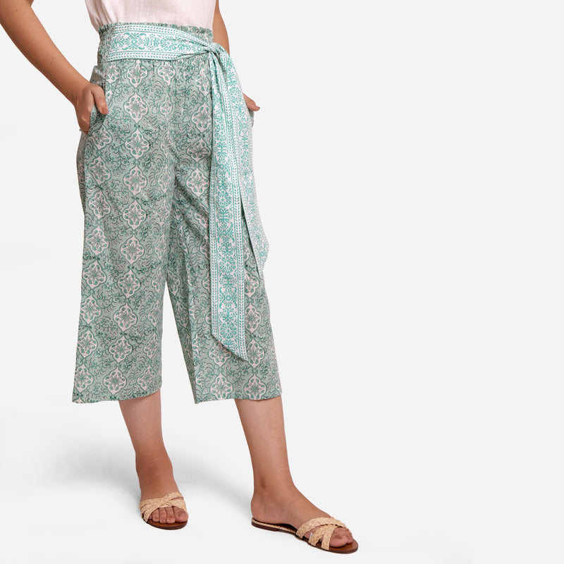 Right View of a Model wearing Sanganeri Block Print Mint Green Pant
