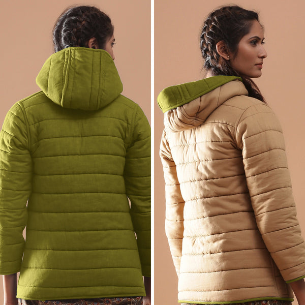 Back View of a Model wearing Green Reversible Detachable Hoodie Quilted Cotton Jacket