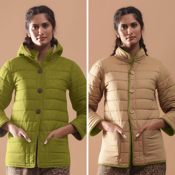 Front View of a Model wearing Green Reversible Detachable Hoodie Quilted Cotton Jacket