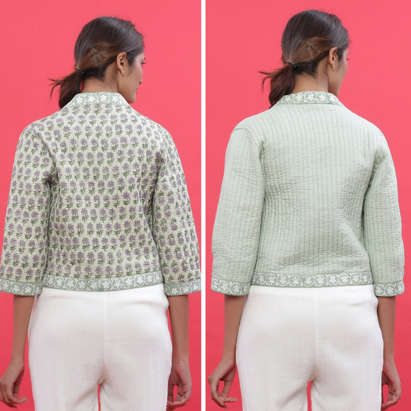 Back View of a Model wearing Green Reversible Block Printed Quilted Cotton Shrug