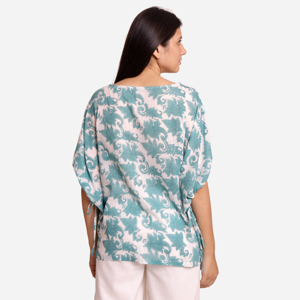 Back View of a Model wearing Sanganeri Hand Block Print Short Kaftan