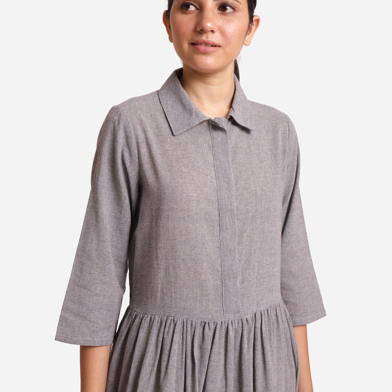 Front Detail of a Model wearing Grey Yarn Dyed Cotton Button-Down Dress