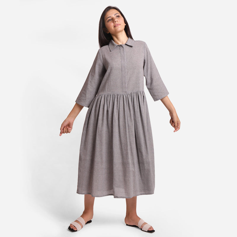Front View of a Model wearing Grey Yarn Dyed Cotton Button-Down Dress