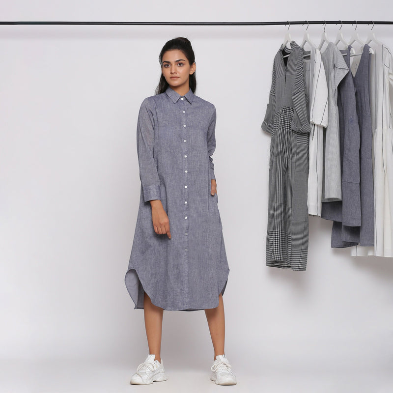 Front View of a Model wearing Grey Button Down Flat Collar Dress