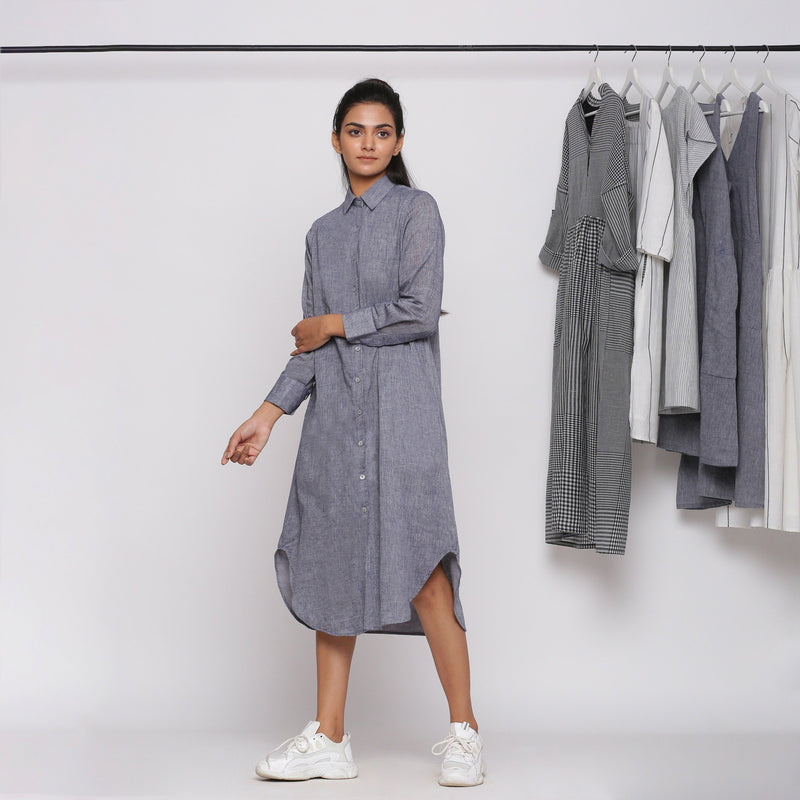 Left View of a Model wearing Grey Button Down Flat Collar Dress