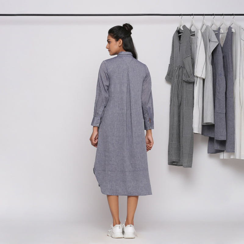 Back View of a Model wearing Grey Button Down Flat Collar Dress
