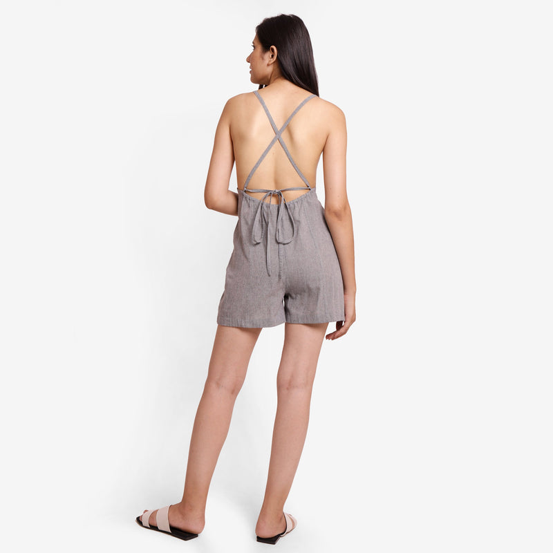 Back View of a Model wearing Grey Criss-Cross Back Paneled Romper
