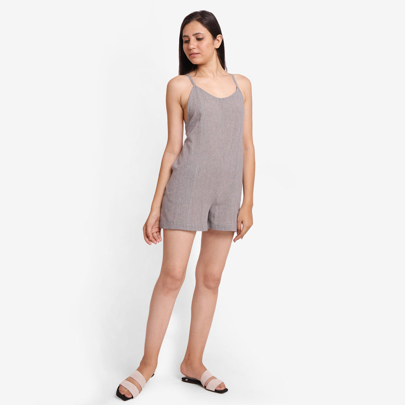 Front View of a Model wearing Grey Criss-Cross Back Paneled Romper
