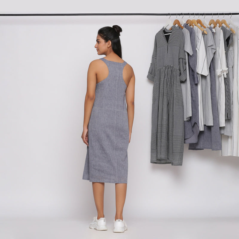 Back View of a Model wearing Grey Racer Back Shift Dress