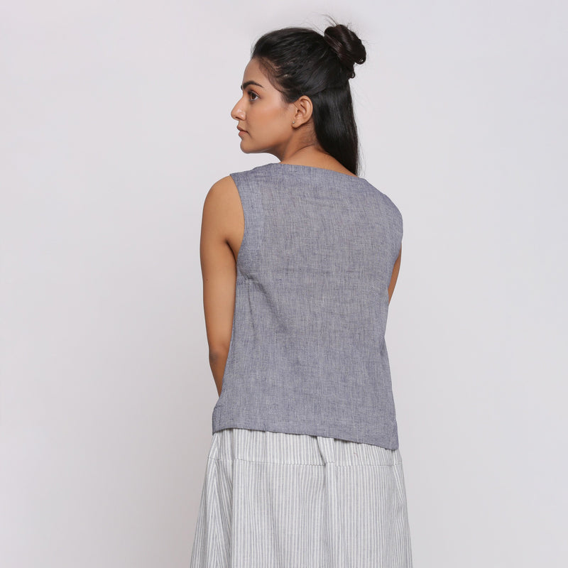 Back View of a Model wearing Grey Split Neck Button Down Top