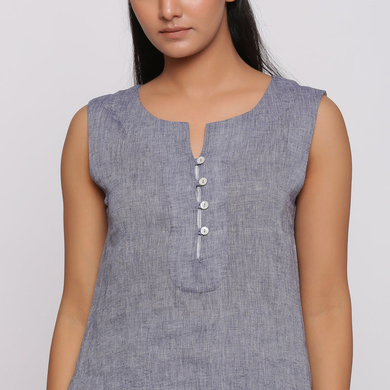 Front Detail of a Model wearing Grey Split Neck Button Down Top