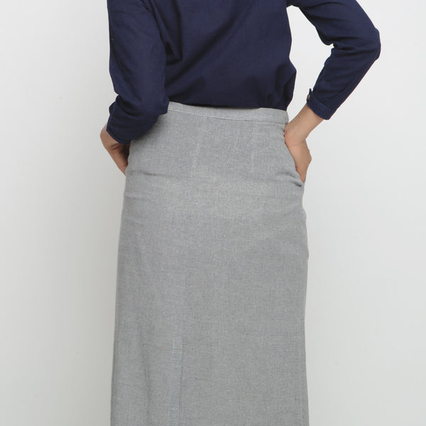 Back View of a Model wearing Grey Yarn Dyed Cotton Straight Skirt