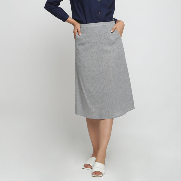 Front View of a Model wearing Grey Yarn Dyed Cotton Straight Skirt