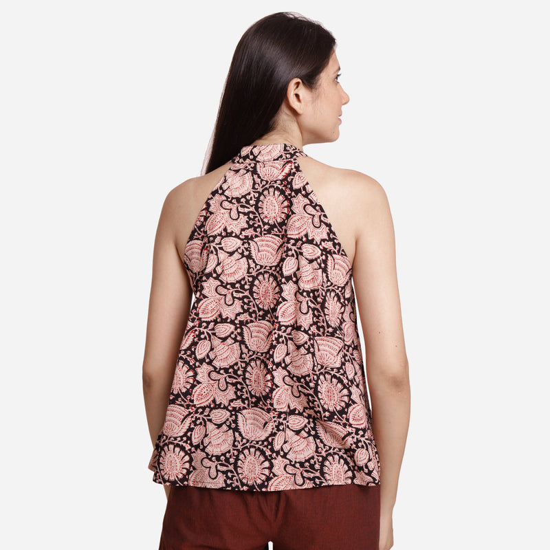Back View of a Model wearing Halter Neck Floral Button-Down Top