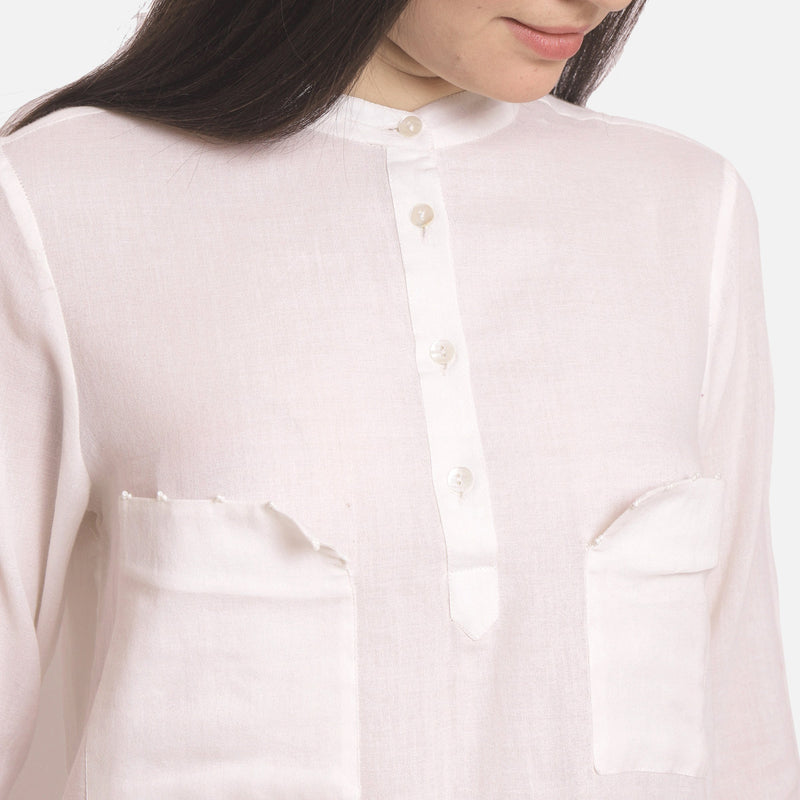 Front Detail of a Model wearing Hand Beaded Mandarin Collar Cotton Shirt