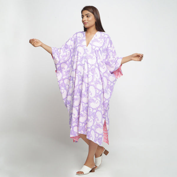 Front View of a Model wearing Hand Block Printed Cotton Reversible Kaftan