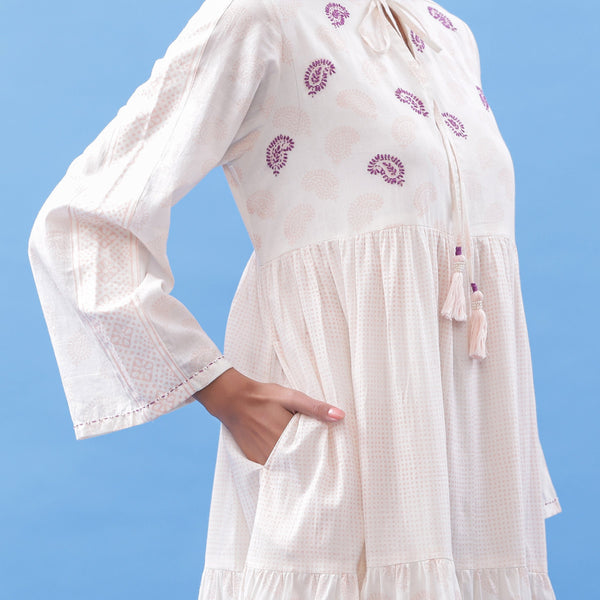 Front Detail of a Model wearing Hand Block Printed Pink Paisley Maxi Dress