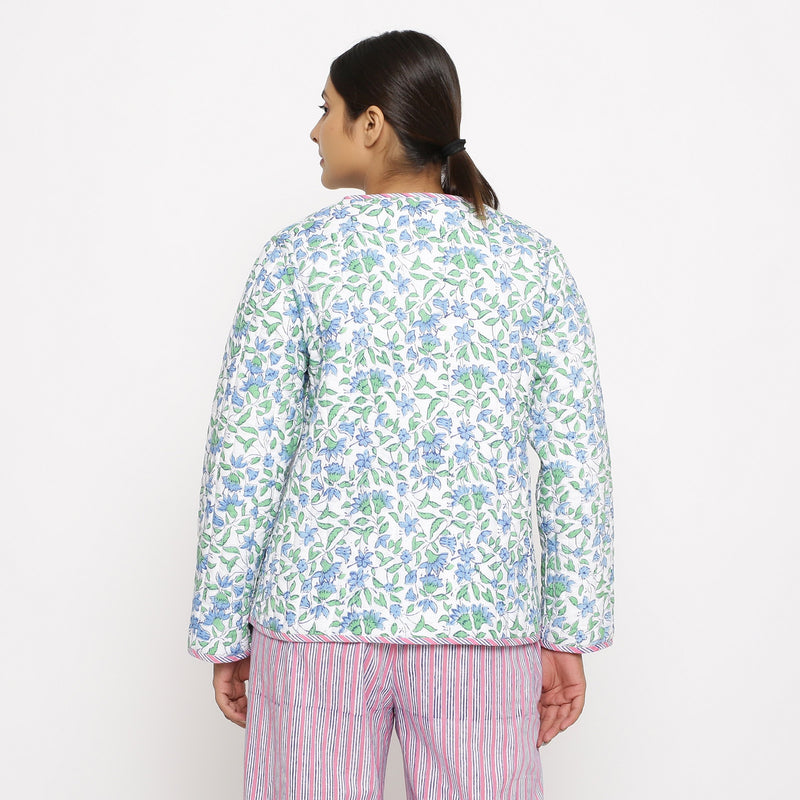 Back View of a Model wearing Hand-Block Printed Reversible Quilted Cotton Jacket