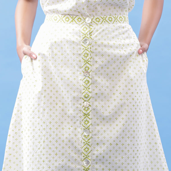 Front Detail of a Model wearing Hand Block Printed Tic-Tac-Toe A-Line Skirt