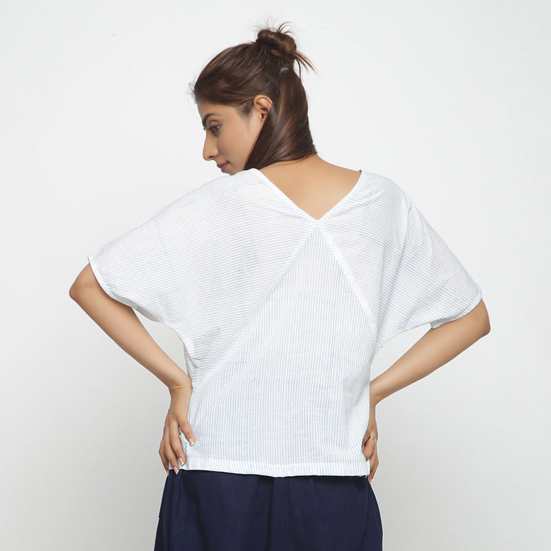 Back View of a Model wearing Block Printed Cotton Striped Paneled Top