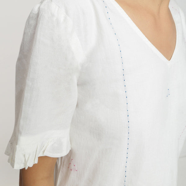 Front Detail of a Model wearing Hand-Embroidered V Neck Shift Dress