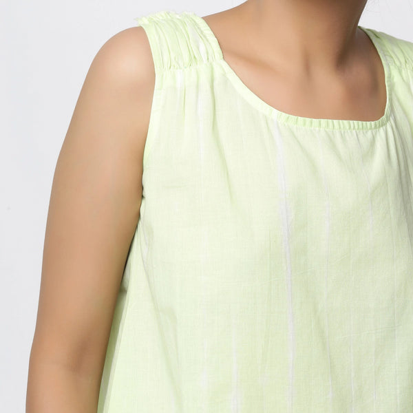 Front Detail of a Model wearing Hand Tie-Dye Mint Green A-Line Top