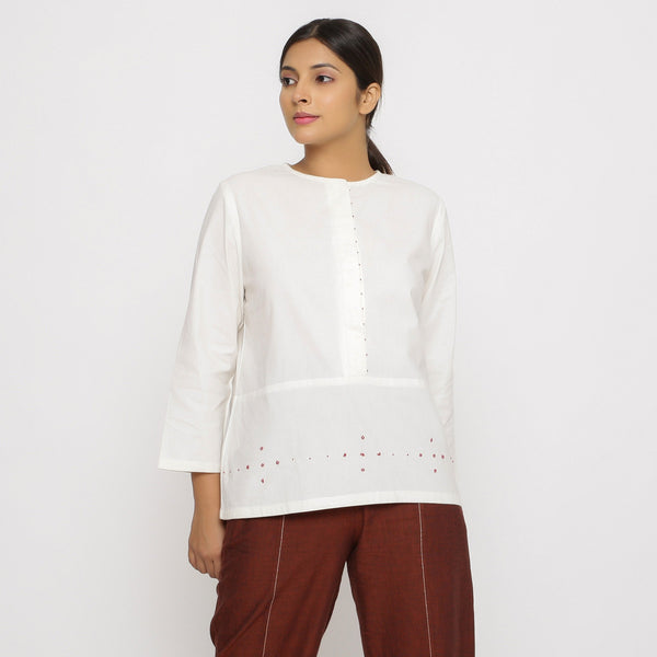 Front View of a Model wearing Hand beaded Cotton Poplin Button-Down Top