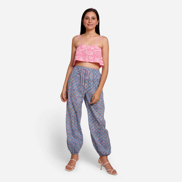 Front View of a Model wearing Sanganeri Block Printed Cotton Harem Pant